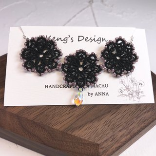 tatted lace crystal necklace (black) / gift / Swarovski crystal / customize