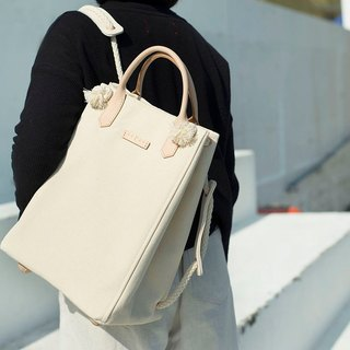3-way Canvas backpack (Cream Color)