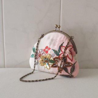 Large purse made of kimono fabrics -with beaded embroidery