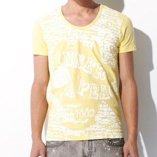 Yellow Fitted Tee skull halftone combed cotton T-Shirt