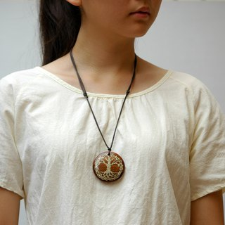 Wooden tree of life necklace Wood Pendant