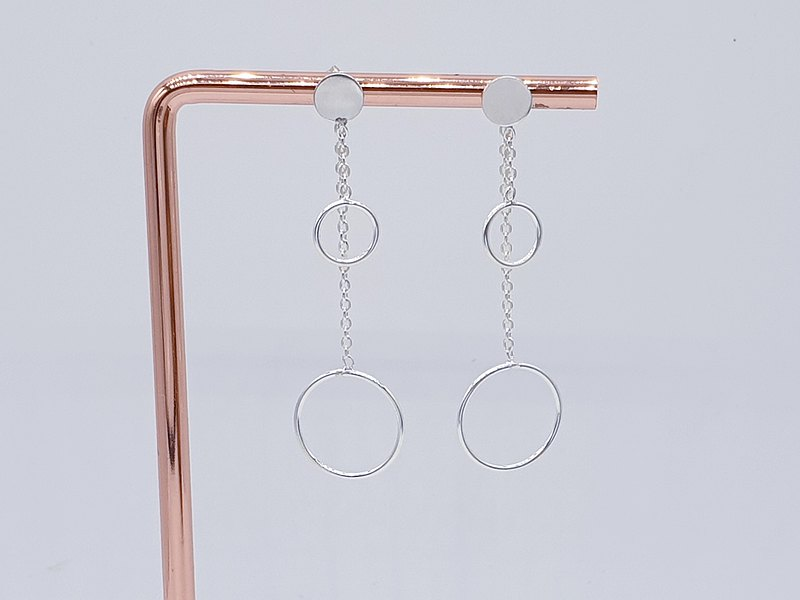Layer Open Circle Hoop Long Chain Stud Earrings 925 Sterling Silver