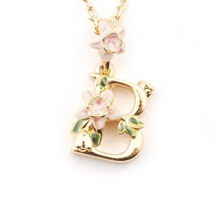 Flower English letter B necklace