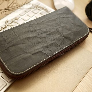Washed kraft paper. Classic long clip / wallet / wallet / purse (black) (for the plain black cotton cloth)