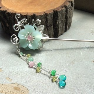 Meow hand ~ peach double hairpin / silver / Dongling jade green