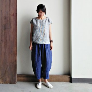 Fat low-grade eight-pants pants linen blue