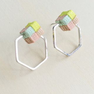 Knitted / Pastel Color / Color Blocking / Hexagon / Earrings