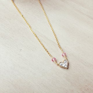 Peach heart zircon rose quartz necklace