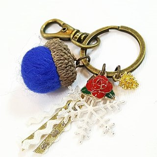 Paris * Le Bonheun. Happy forest. Beauty and the beast. Wool felt acorn. Pine cone key ring strap. Christmas present