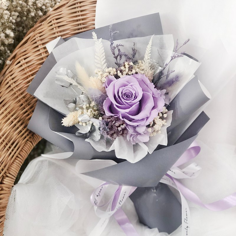 Romantic silver purple eternal rose bouquet