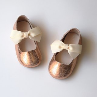 Rose Gold Mary Jane Shoes with Ribbon Bow, Baby Girl Shoes, Toddler Girl Shoes