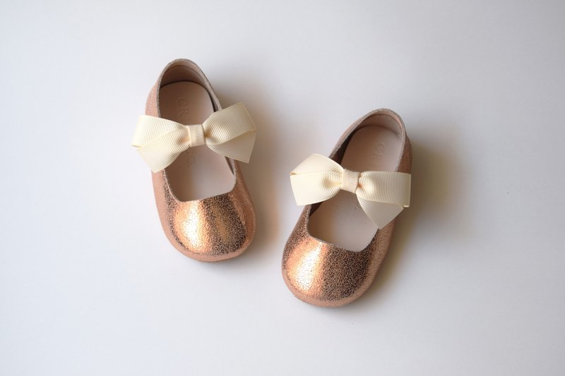 c2d930b337fb Rose Gold Mary Jane Shoes with Ribbon Bow
