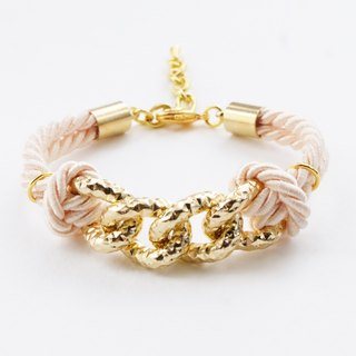 Gold chain & ivory cream cord bracelet