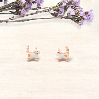 Tiny Orange Cat Earrings, Cat Stud Earrings, miniature cat, cat lover gifts