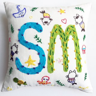 name pillow creative gift - an original design custom handmade wool embroidered pillow -1 to 3 letters
