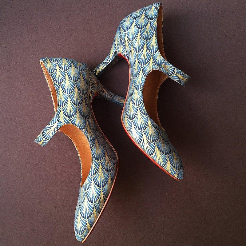 窈窕搭扣手作高跟鞋/ 30年代 懷舊復古 中跟鞋 摩登時代 燙金鞋面