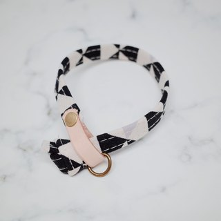 [Limited] cat collar black and white triangular checkered giraffe gray cotton + plant tanned leather cat two-sided design irregular