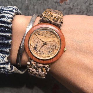 【Lost And Find】Natural  wood stone panther agate watch