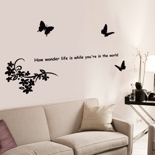 Smart Design Creative wall stickers ◆ Incognito Butterfly and flower (8 colors optional)