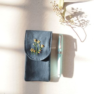 Flower embroidery cotton three into pen pencil dark blue