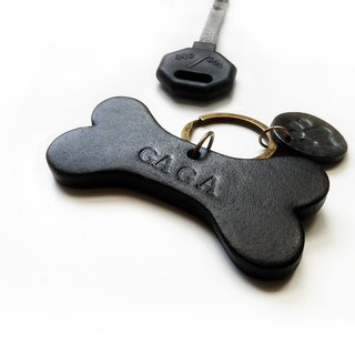 Dog bone shape pet brand name / charm / key ring [customized lettering]