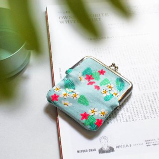 Early summer breeze / water blue gold bag / coin purse / storage pouch