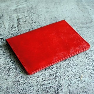 Flame Red Antique Wax - Leather Phone Passport Wallet Passport Passport Cover