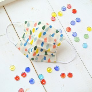 Practical handmade mask Rain Drops White | Cute retro dot pattern | TEMARIYA