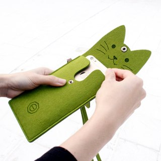 Open a cat - wool felt cat mobile phone bag Portable package / neck strap - matcha cat
