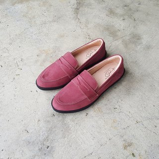 Nubuck Leather Loafers (Red Wine)