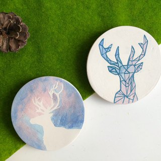 Hand paint ceramic Galaxy Deer -Absorbent Coaster