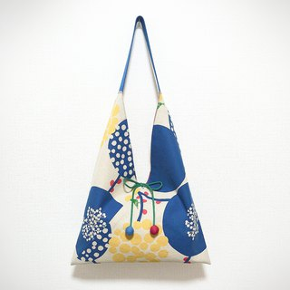 Japanese-style skull-shaped side backpack / large size / geometric blue - blue dot