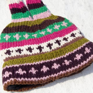 Christmas hand-knitted pure wool hat / handmade bristles caps / knitting caps / elf caps / wool cap - Eastern Europe bright hue (a handmade limited edition)