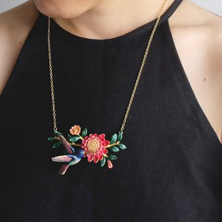 Humming Melody Necklace Humming Bird Colorful Statement necklace