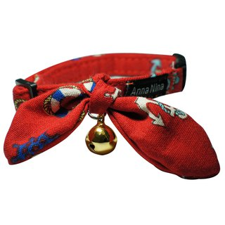 [AnnaNina] Pet Dog Collar Red Sea Anchor Kelly Towel S~2L