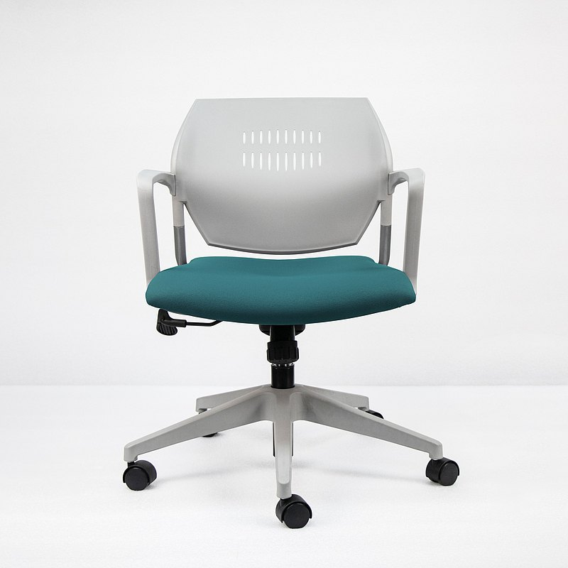 IMPRESSA | 小資扶手辦公椅 - 灰 x 湖水綠座