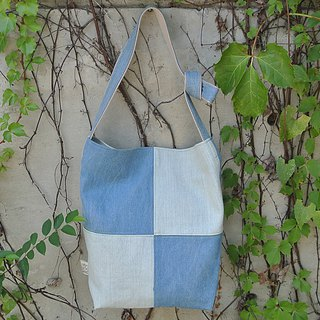 Denim light blue stitching cross-back / side back dual-use bag