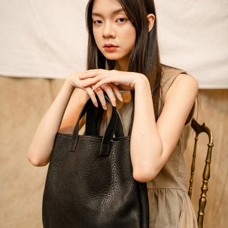 Leather short handle tote bag (black)