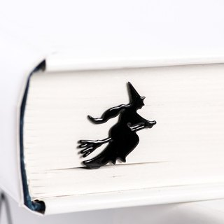 Metal Book Bookmark Flying Witch // Present for book lover / cute gift packaging