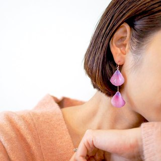 Lavender Color Petal Asymmetrical Earrings/Pierced, Clip-on