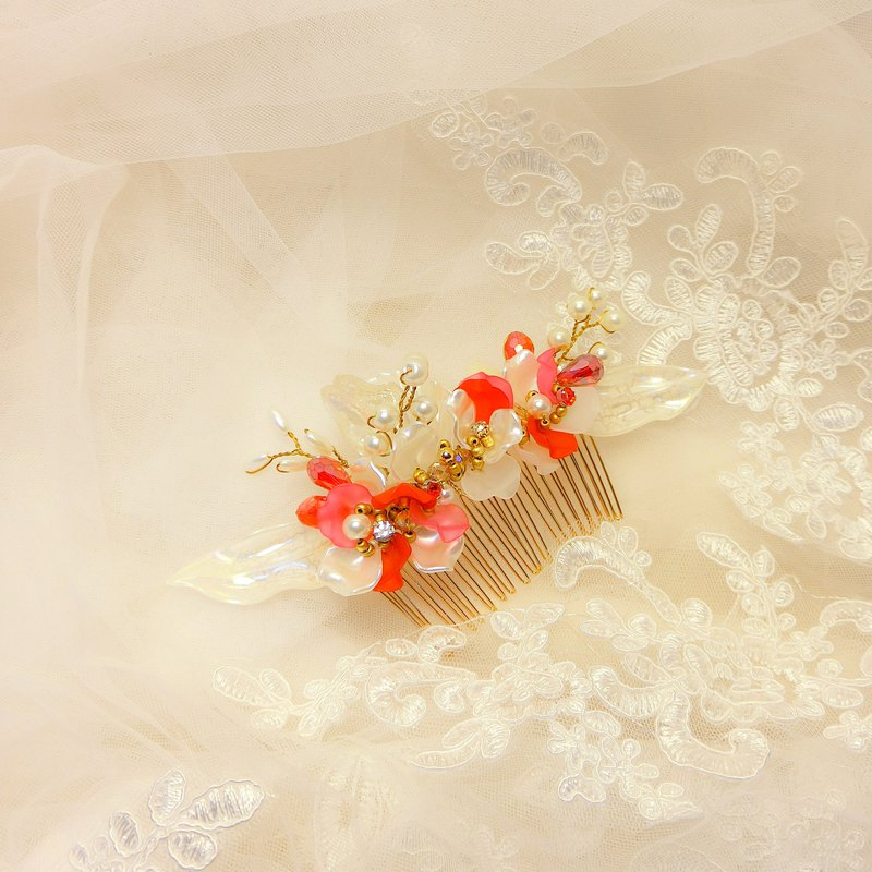 Wear a happy decoration Jiao Ruo Chunhua series - the bride comb. French comb. Buffet wedding - red pepper
