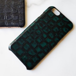 AOORTI :: Apple iPhone 6s/6s Plus Handcrafted Leather Coat Case/Mobile Phone Case - Crocodile/Black Grid