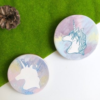 Hand paint ceramic Galaxy unicorn  -Absorbent Coaster