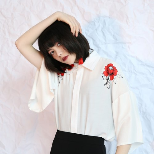 Shaoyaoju original small through white flowers loose sleeves and wind 17 summer chiffon cool printed women short-sleeved shirt