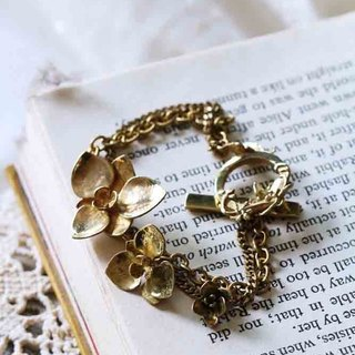 Flowers Bracelet / Linen Jewelry / Gold Flowers Bracelets / Everyday Jewelry.