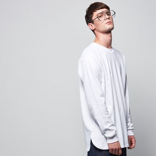 Stone @ s Basic Long-sleeved Tee In White / White Sleeve Long T-shirt