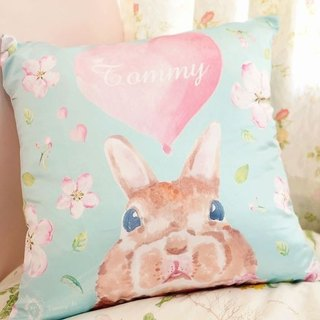 Stay lovely natural lake blue rabbit pillow affection / Standard Size / with printing service name