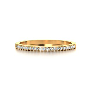 【PurpleMay Jewellery】 18k Yellow Gold Simple Half Eternity Diamond Ring R024