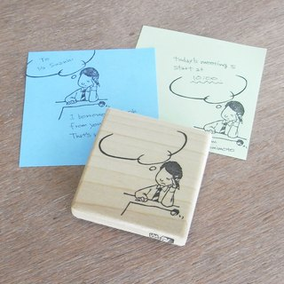 "Handmade rubber stamp ""Afflicted office workers"""