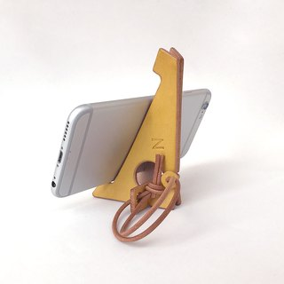 Kida dyed leather folding smartphone stand 【zaza / Zaza】 # Plant dye leather # Alphabet stamp to choose